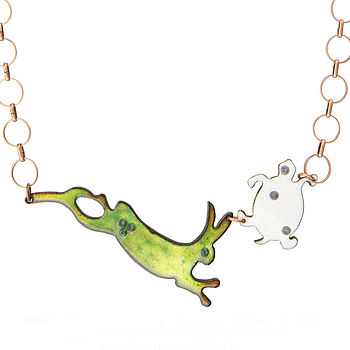 Hare And Tortoise Enamel Necklace