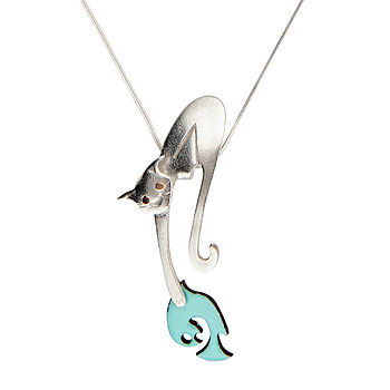 Cat Catching Fish Necklace