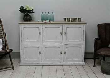 Distressed Pine Painted Six Door Cupboard