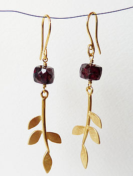 Gold Plated Eloise Leaf Garnet Earrings