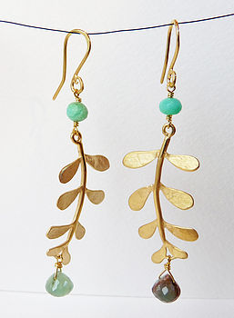 Gold Plated Evie Leaf Earrings with Chrysoprase