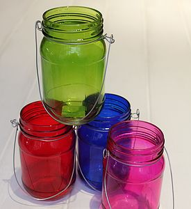 Hanging Green Jam Jar Tealight Holder - votives & tea light holders