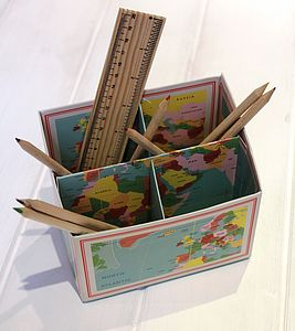 Map Desk Tidy - stationery