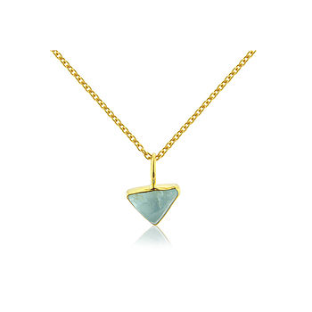 Triangular Aquamarine Pendant Set In 18ct