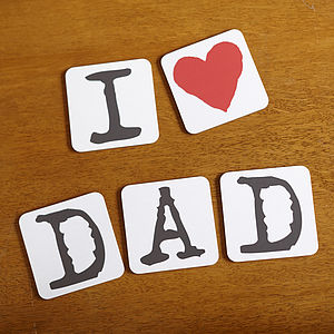Set Of 'I Love Dad' Coasters