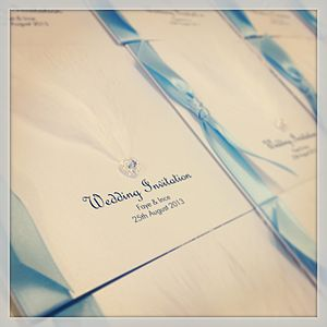 Mademoiselle Feather Wedding Invitation - wedding stationery