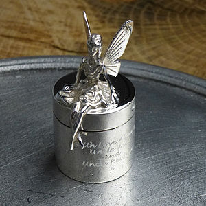 Silver Fairy Tooth Box - children's room accessories
