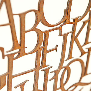 Rusty Metal Alphabet Letter Sign - sculptures