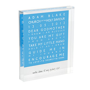 Personalised Godparent Acrylic Block - more