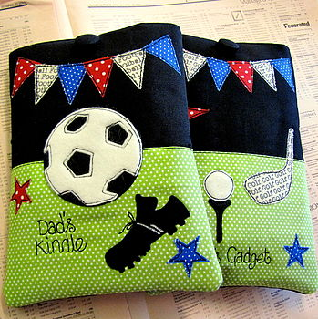Personalised Kindle Cases, showing Football & Golf