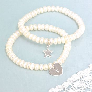 Button Pearl Bracelet With Initial