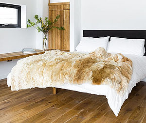 Alpaca Fur Throw Rug - bedroom
