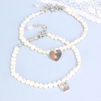 Ivory Seed Pearl Bracelet With Initial