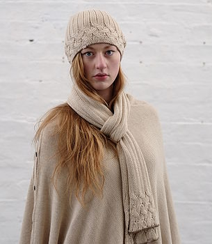 Alpaca Unisex Cable Knit Hat