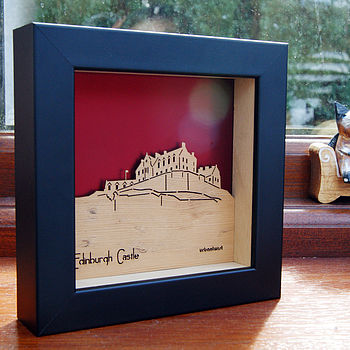 Edinburgh Castle Mini Wall Art (Metallic Ruby Red)