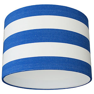 Royal Blue And White Deckchair Stripe Lampshade - lighting