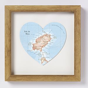 Ibiza Map Heart Wedding Anniversary Print