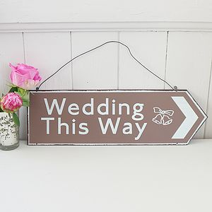 'Wedding This Way' Arrow Sign - decorative accessories