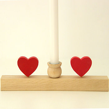 Large Candle Holder With Hearts