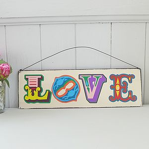 Vintage Style 'Love' Hanging Metal Sign - outdoor decorations