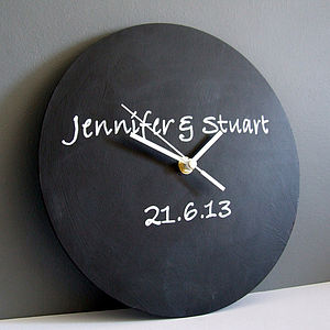 Personalised Heart Or Circle Blackboard Clock - living room