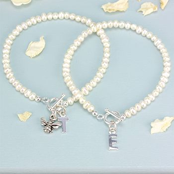 Seed Pearl Initial Charm Bracelet