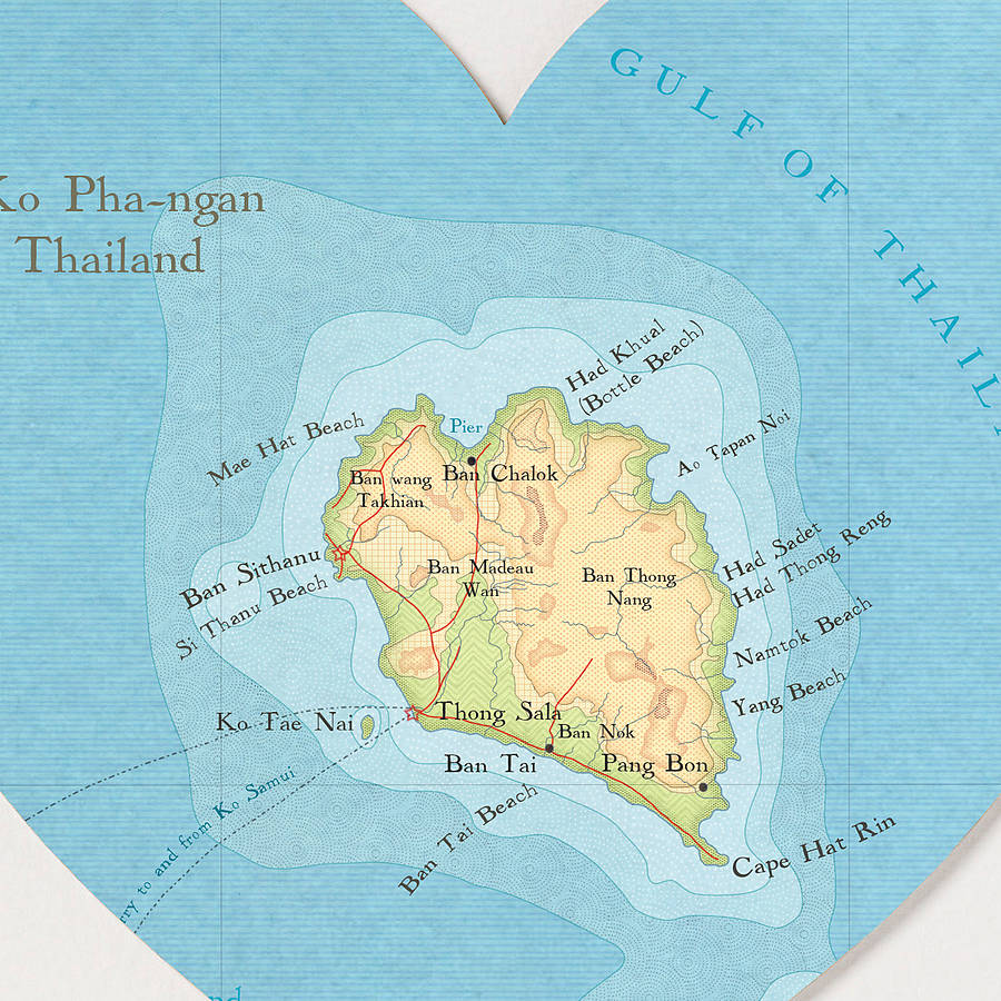 Ko Pha Ngan map heart print detail