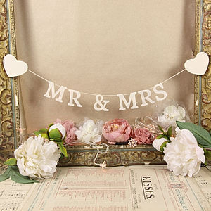 'Mr And Mrs' Decorative Garland - weddings sale