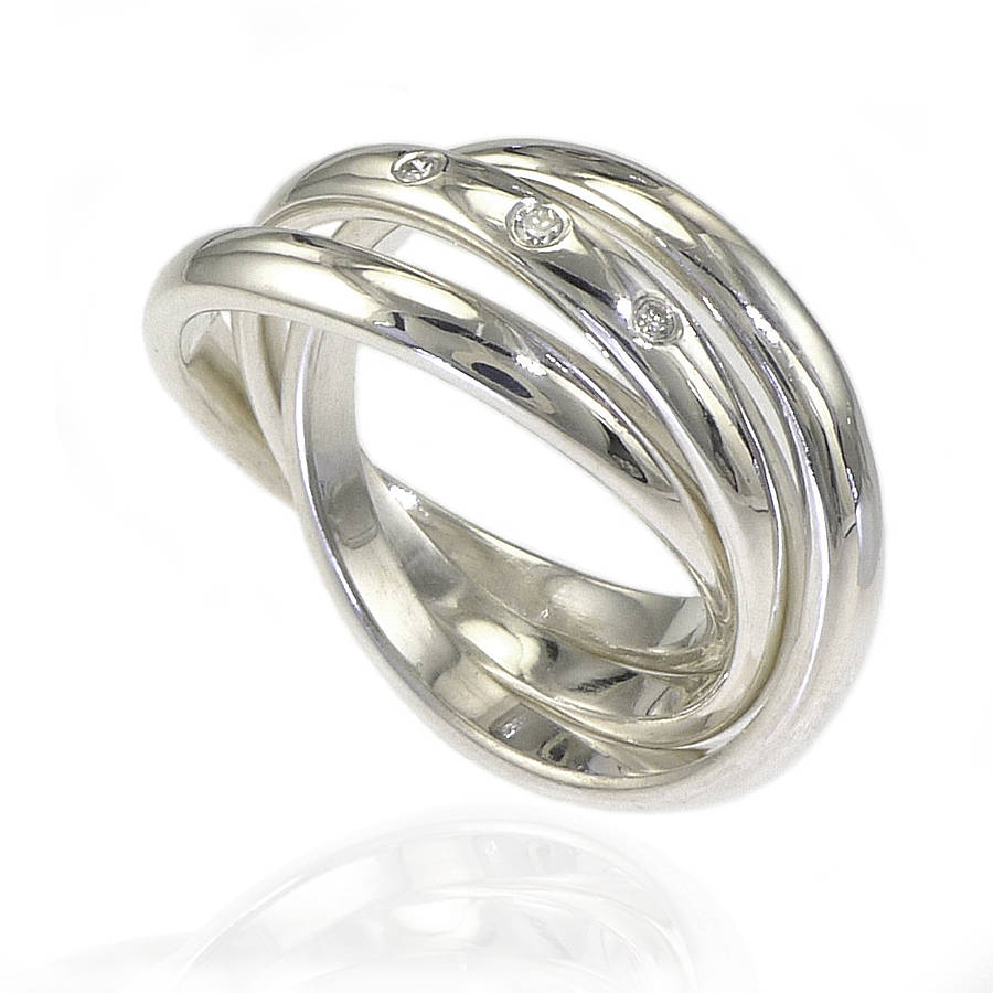 silver russian wedding ring with diamonds by lilia nash