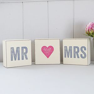 Decorative Set Of 'Mr And Mrs' Blocks - outdoor decorations
