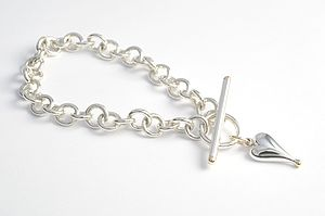 Sterling Silver And 9ct Gold Heart Bracelet - bridal bracelets