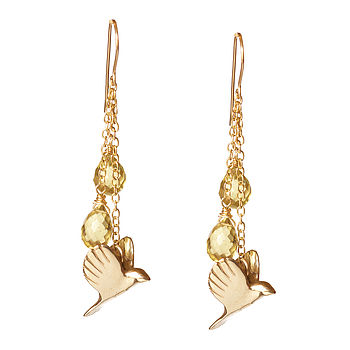 Gold Plated Sterling Silver Free Bird Earrings