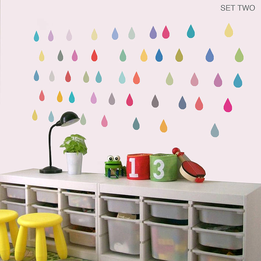 raindrop vinyl wall stickers by oakdene designs