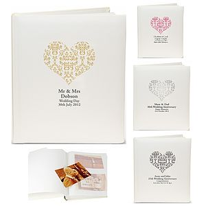 Personalised Damask Heart Photo Album - home accessories