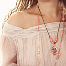 Long Coral And Gemstone Necklace