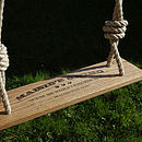 Thumb personalised hand made rustic oak swing