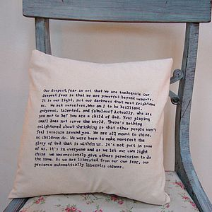 Hand Written Quote/Wedding Vows Cushion - bedroom