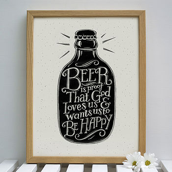 Beer print shown framed (display purposes only)