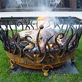 Hand Forged Crown Fire Pit - garden