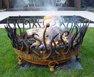 Hand Forged Crown Fire Pit - art & decorations