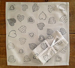 'Heart' Cotton Napkin Bundle - home & garden