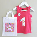 Girl's Personalised Birthday Vest And Bag Set