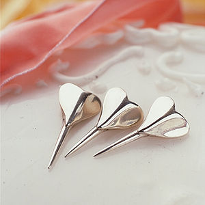 Silver Heart Birthday Cake Candleholder - cake decoration