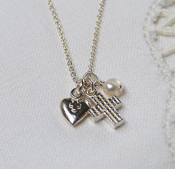 Cross & Heart Teeny Necklace