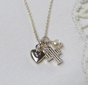 Cross & Heart Teeny Necklace - christening gifts