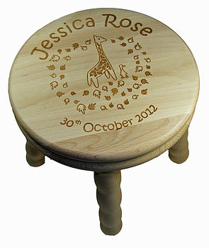 Personalised Child's Giraffe And Duck Stool