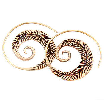 Spiral Feather Earrings