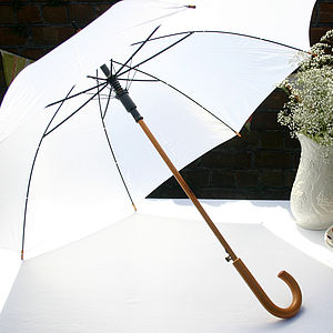 Wedding Umbrella With Wooden Handle - parasols & windbreaks