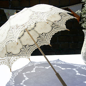 Vintage Style Ivory Handmade Parasol - wedding fashion