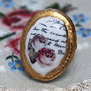 Porcelain Rose And Writing Cameo Ring